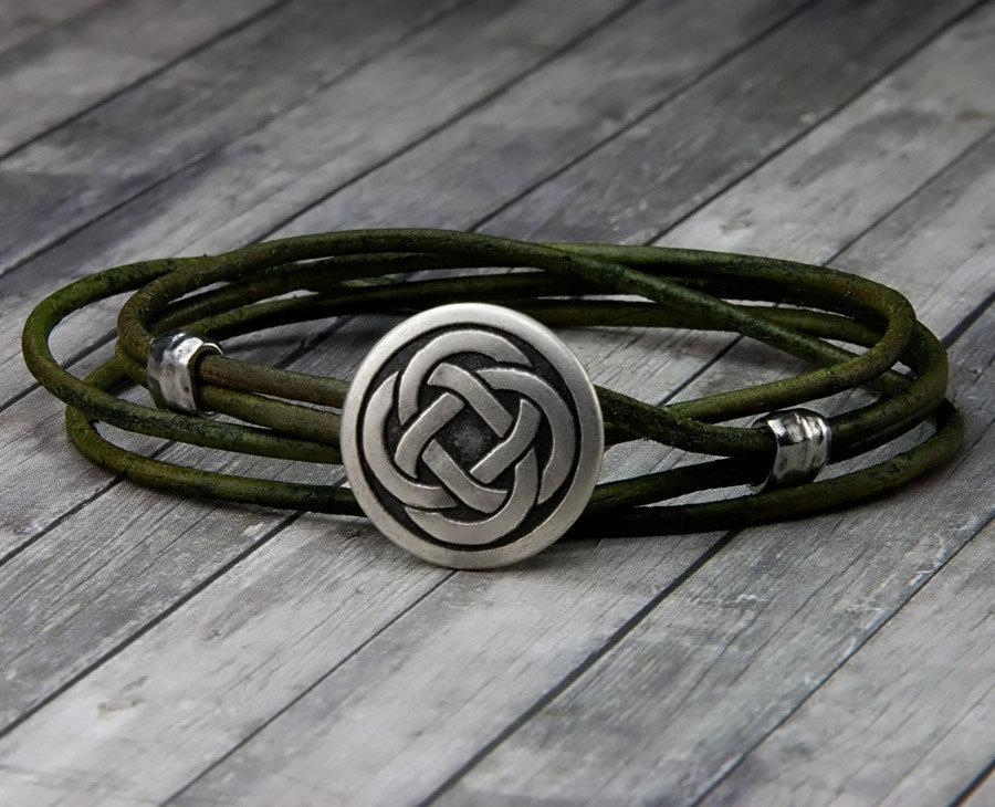 زفاف - Celtic Knot Leather Bracelet - Handmade Leather Wrap Bracelet - Unisex Leather Bracelet - Mens Leather Bracelet - Womens Leather Bracelet