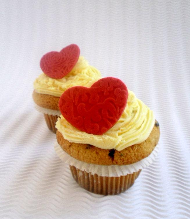Wedding Fondant Edible Cupcake Toppers Red Heart Toppers Wedding