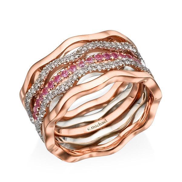 Mariage - Diamonds ring, 14k Ring, Rose gold ring, Pink Sapphire rings, Diamonds rose rings,  Multicolor Ring, Two tone Rings. Rose & White  Gold Ring