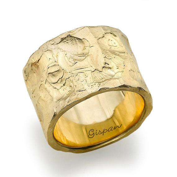 Antique Wedding Ring Gold Band Unisex Men Woman Vintage Wide