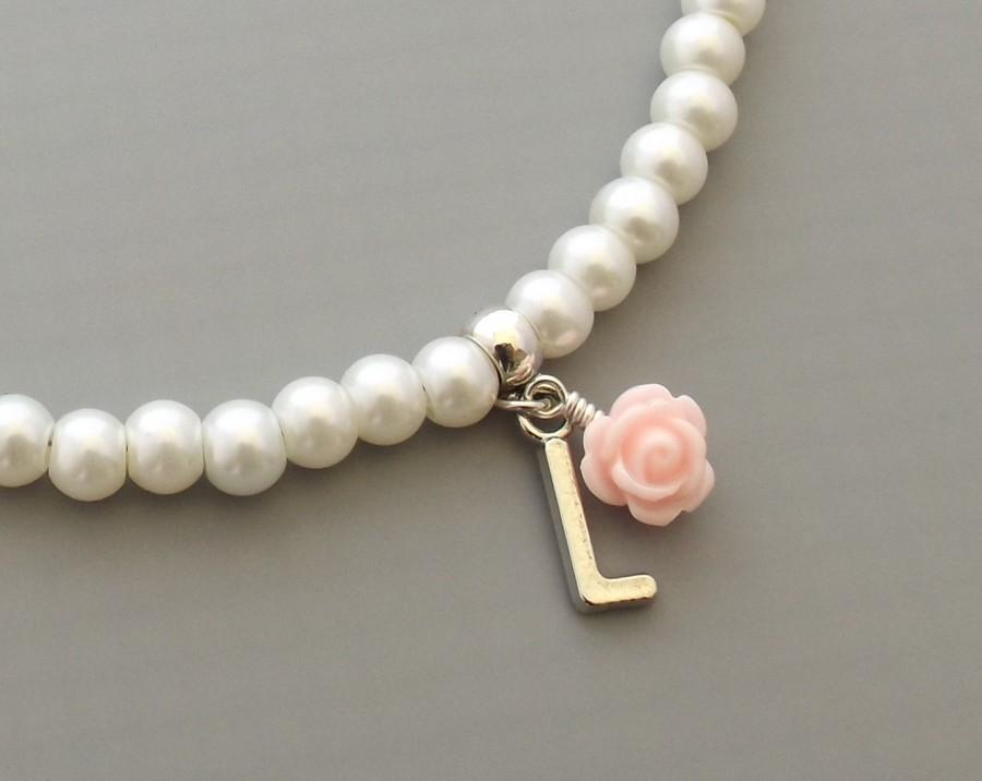 Свадьба - Personalised flower girl necklace, flower girl gift, flower girl necklace, personalized flower girl gift, childrens jewelry, wedding jewely