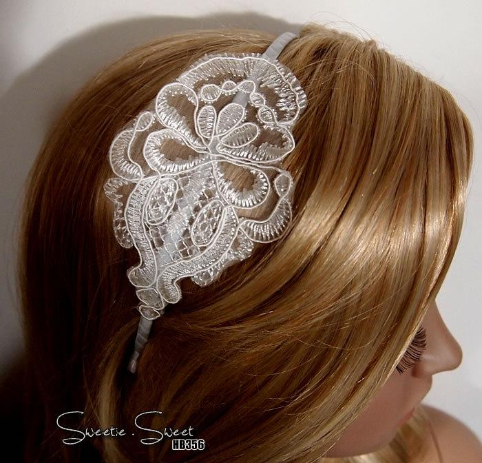 Wedding - Set of 4, Bridesmaid Hair Accessory, Bridesmaid Gift, Bridesmaid Headband, Lace Headband, Bridal Headband