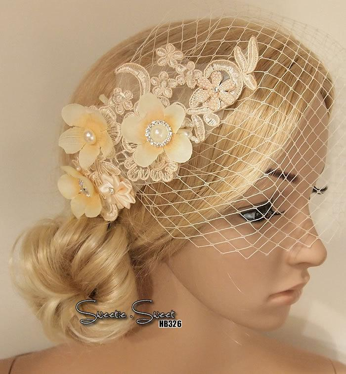 Wedding - Bridal Head piece, Bridal Hair Comb, Wedding Hair Comb, Bridal Hair Clip, Wedding Fascinator, Rustic lace veil