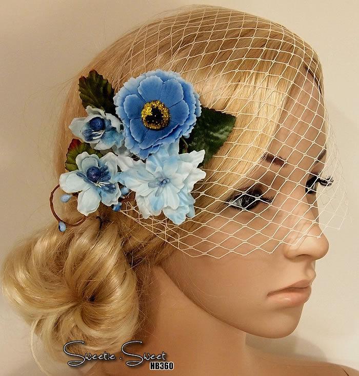 Mariage - Bridal Head piece, Something Blue, Wedding Hair Clip, Bridal Hair Comb, Woodland Head piece, Rustic lace veil