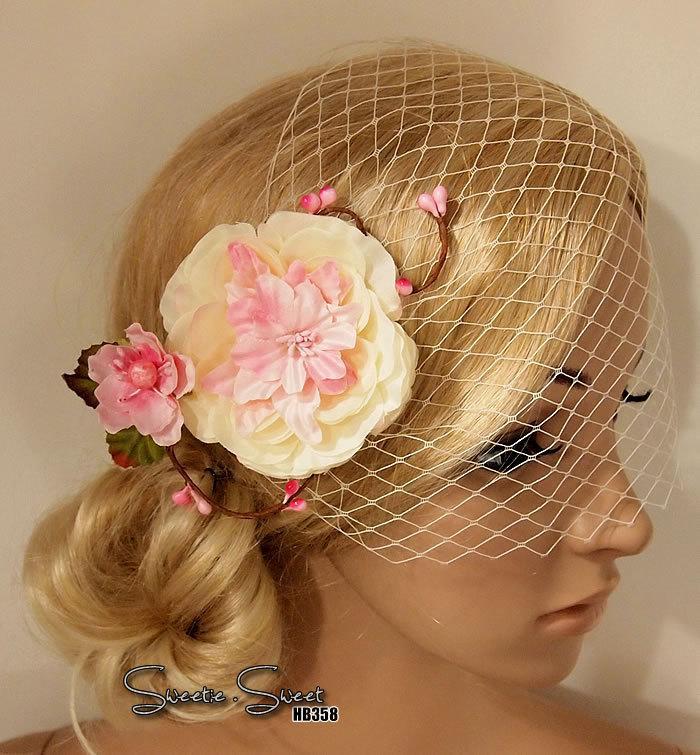 Wedding - Bridal Head piece, Bridal Hair Comb, Wedding Hair Clip, Bridal Hair Clip, Woodland Head piece, Rustic lace veil