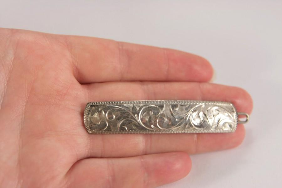Mariage - Sterling Silver Vintage Hair Comb Barrette Engraved