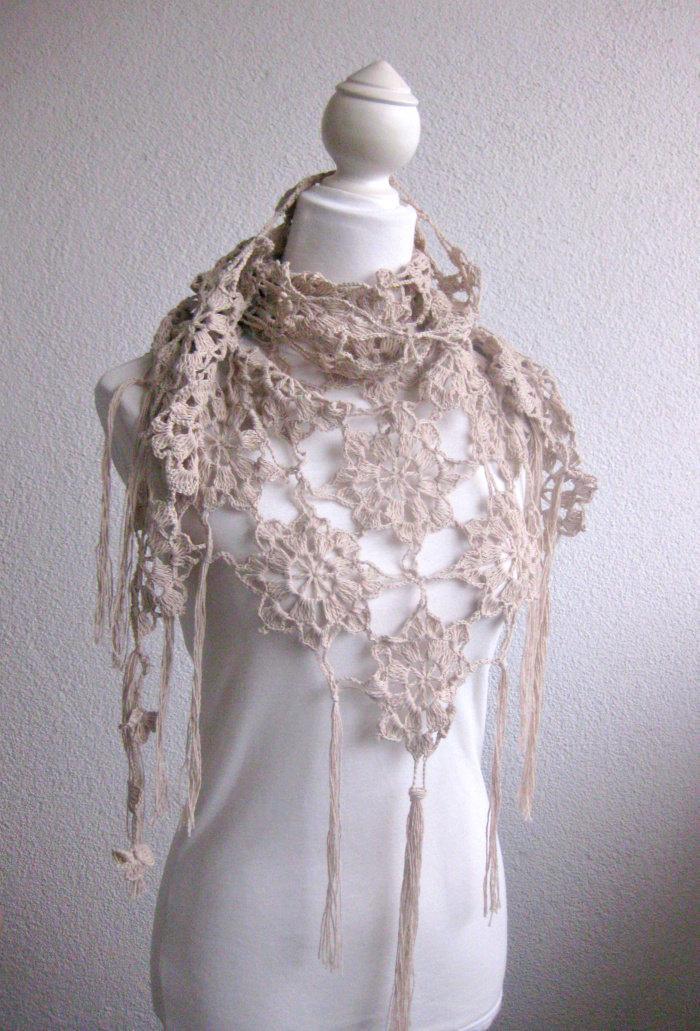 Pdf Crochet Pattern Pattern For Scarf Shawl Beige Crochet Scarf