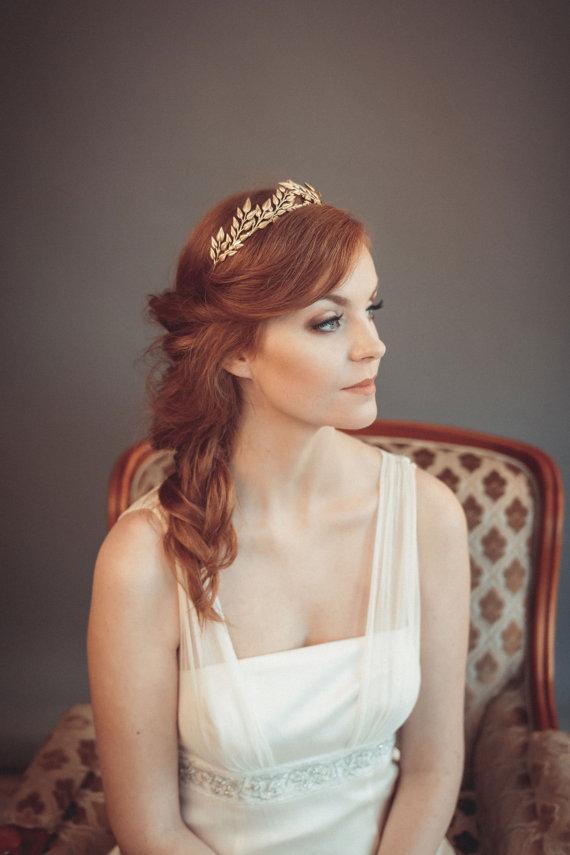 زفاف - Gold leaf headband - Greek goddess headband - Grecian tiara - Wedding headband - Bohemian head piece