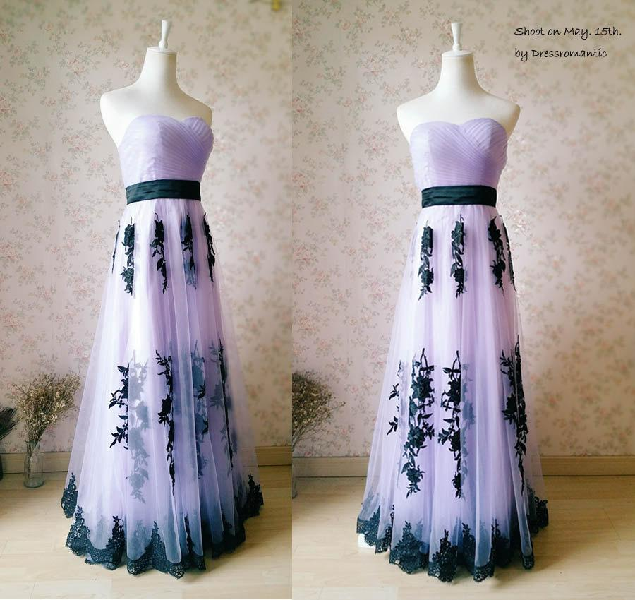 New bridesmaid dress light purple sweetheart long for Wedding dress with purple embroidery