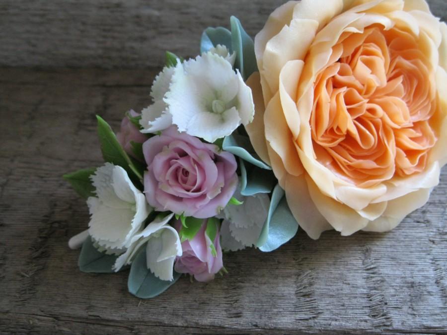 Wedding - Bridal hair accessory Blush wedding head piece Wedding hair clip Orange flower hair piece Bridal flower headpiece Garden rose Nature wedding