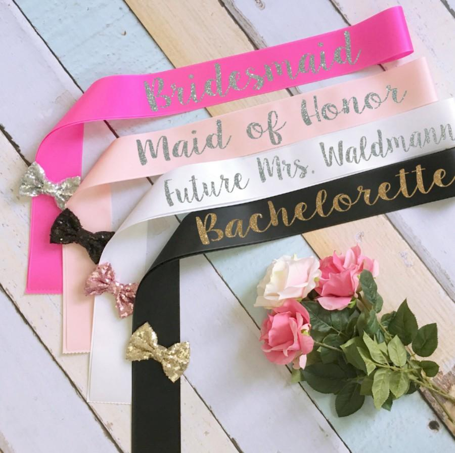 Wedding - Bridal Party Sashes. Bride Sash. Bachelorette Sash. Wedding Sash. Custom Sash. Glitter Sash. Bow Sash. Bridesmaid Sash. Maid of Honor Sash