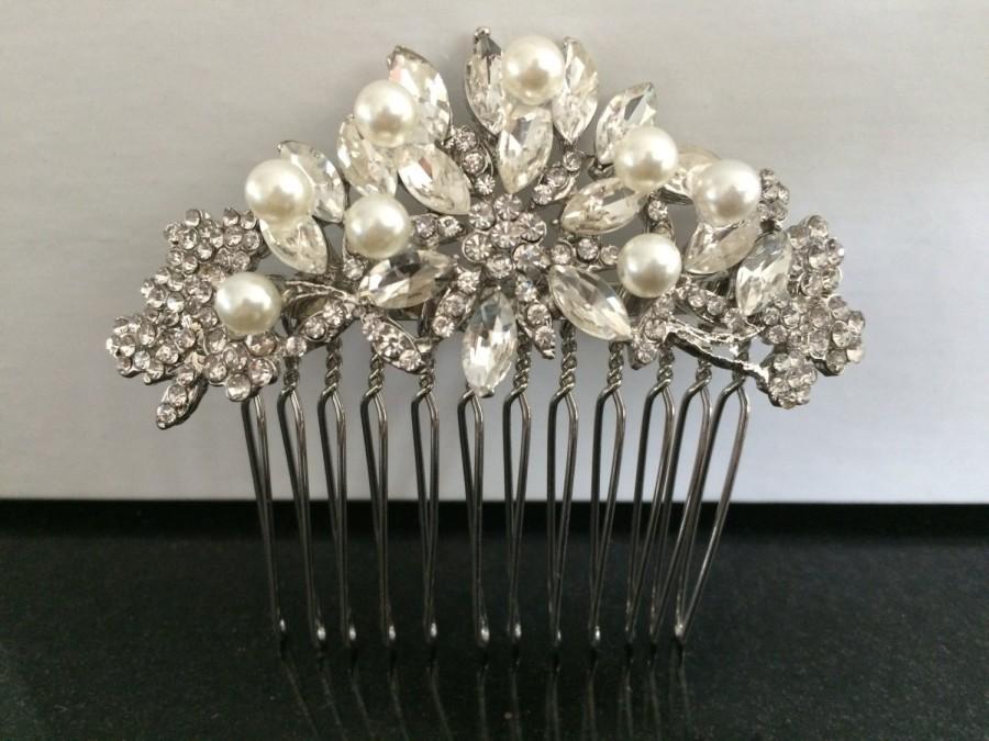 Wedding - Wedding hair comb, Pearl bridal hair comb, bridal hair accessories, wedding hair accessories, crystal hair comb, vintage comb,bridal jewelry