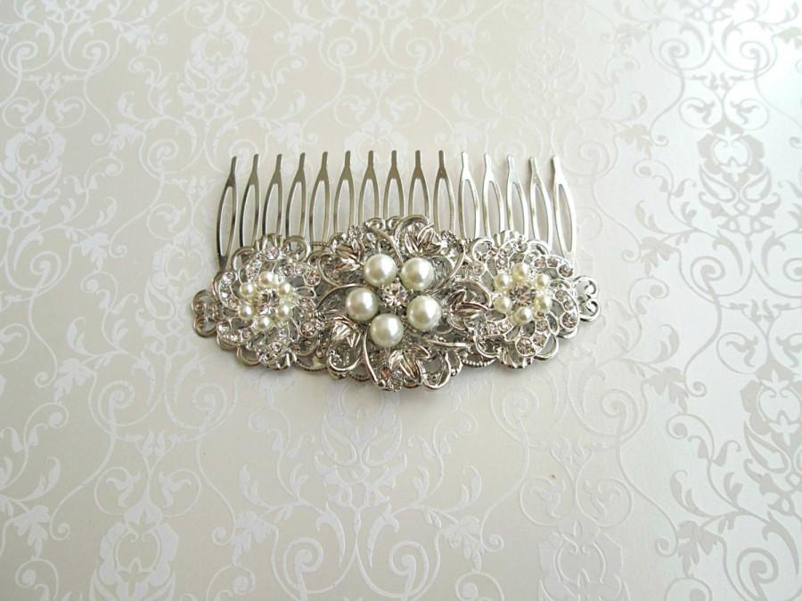 Mariage - Ivory Pearl, Wedding Hair Comb, Pearl Bridal clip, Silver crystal, wedding Hair Accessories, Decorative Comb, Bridal Hair Comb