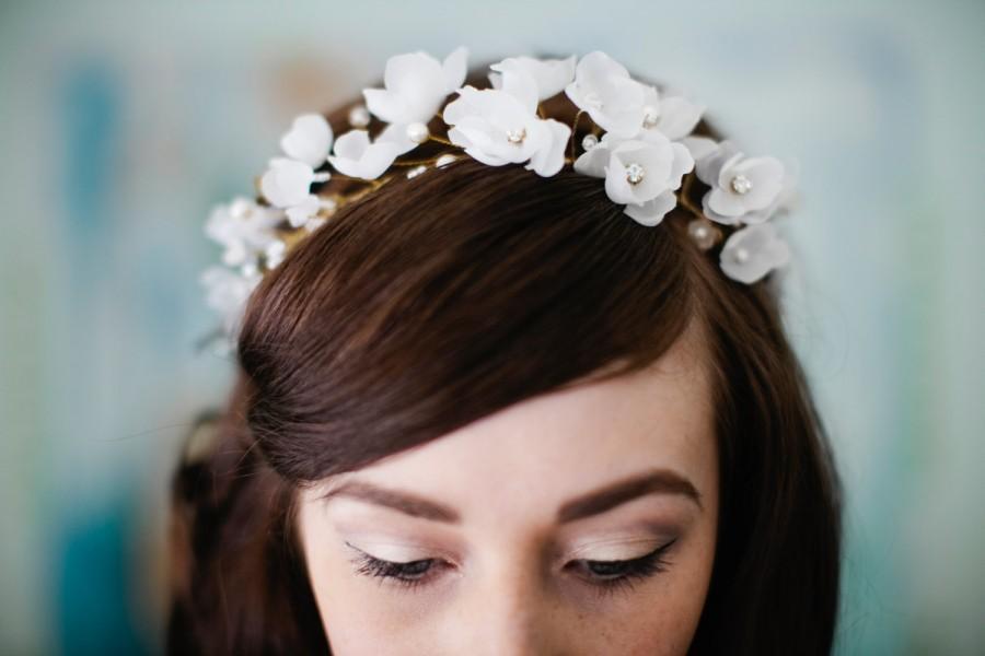 Wedding - Apple Blossom flower bridal halo headband crown gold or silver rhinestone flower