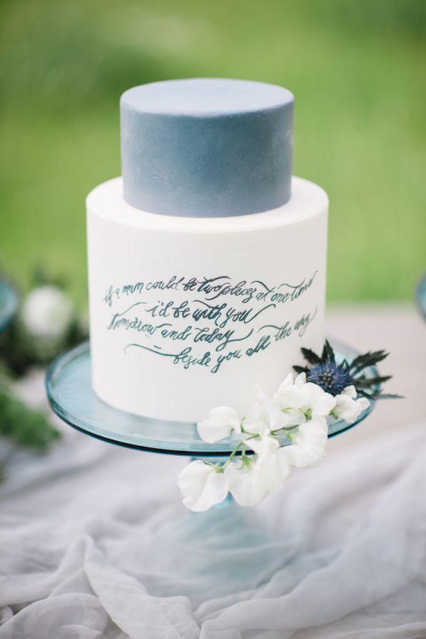 Wedding - Eadible Calligraphy On Wedding Cake