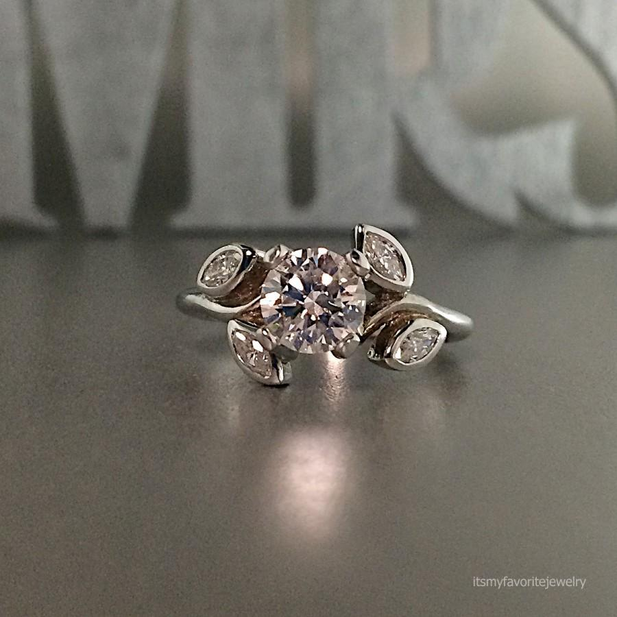 Unique Engagement Ring White Gold Diamond Engagement Ring Floral Design R