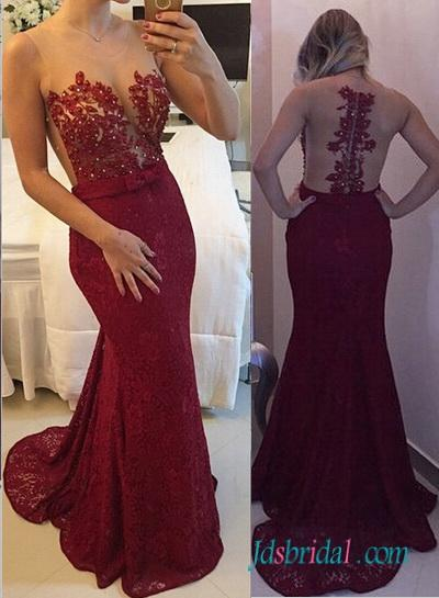 Wedding - PD16068 Sexy illusion sheer top red mermaid lace prom dress