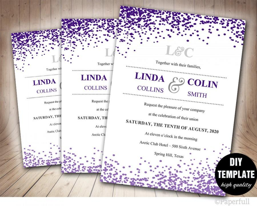 Creative Wedding Invitation Template,Confetti Wedding Invitation ...