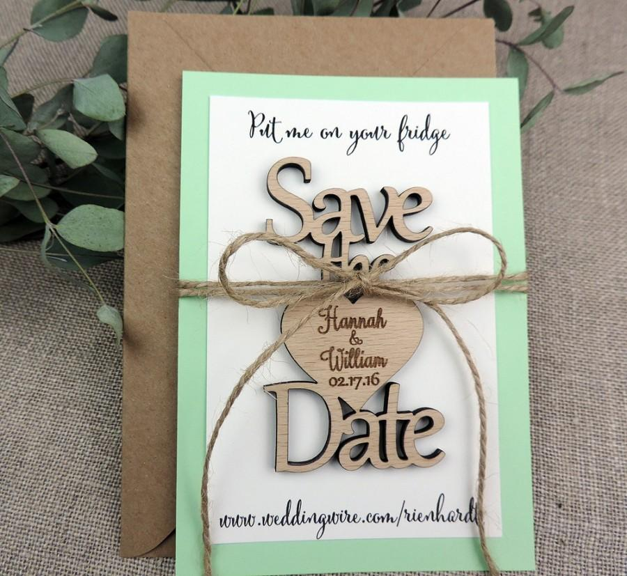 Wedding - Save The Date Magnet,Custom Save The Date Magnet, Rustic Wedding Favor, Personalised Wooden Wedding Gift,  Bridal Shower Favor, Mint Green
