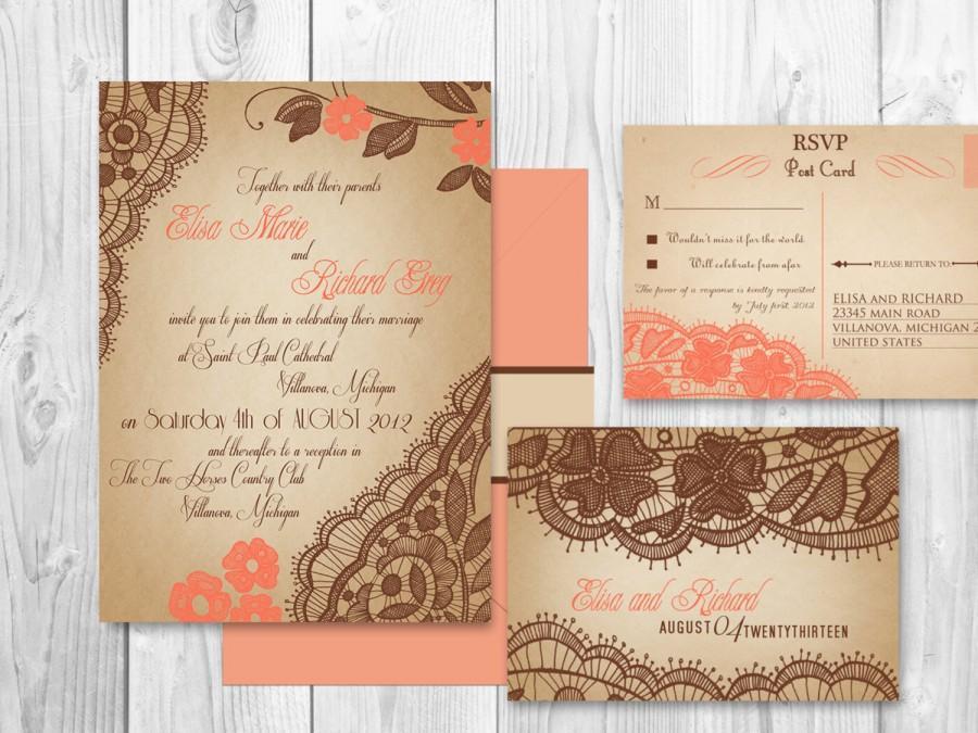 زفاف - WEDDING INVITATIONS PRINTABLE Lace - Coral Springs Suite