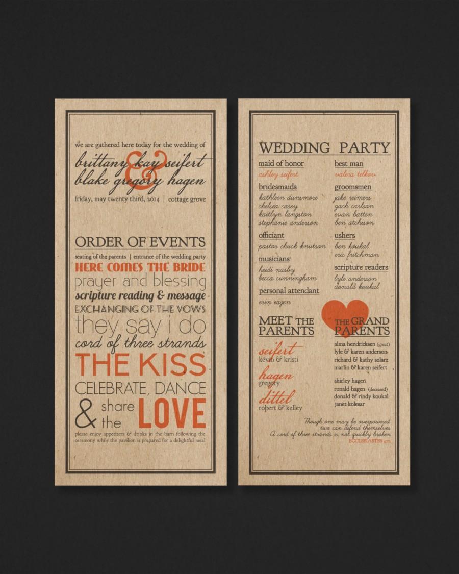 زفاف - Printable Wedding Program - Order of Events - The Scribe Collection