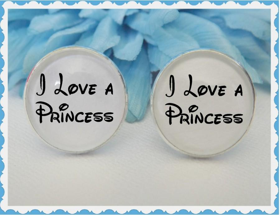 Wedding - Disney Inspired I Love a Princess Cufflinks Wedding Accessory Bridal for Him