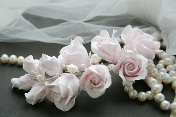 Mariage - Tender pink Rose Wedding Hair flower Bridal flower headpiece Wedding Flower comb Bridal flower clip Rose Hair