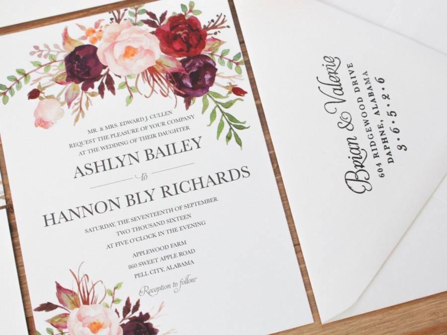 زفاف - Bohemian Wedding Invitation, Fall Wedding Invitation, Marsala Wedding Invitation, Blush, Marsala, Feathers, Woodland, Rustic, Vintage
