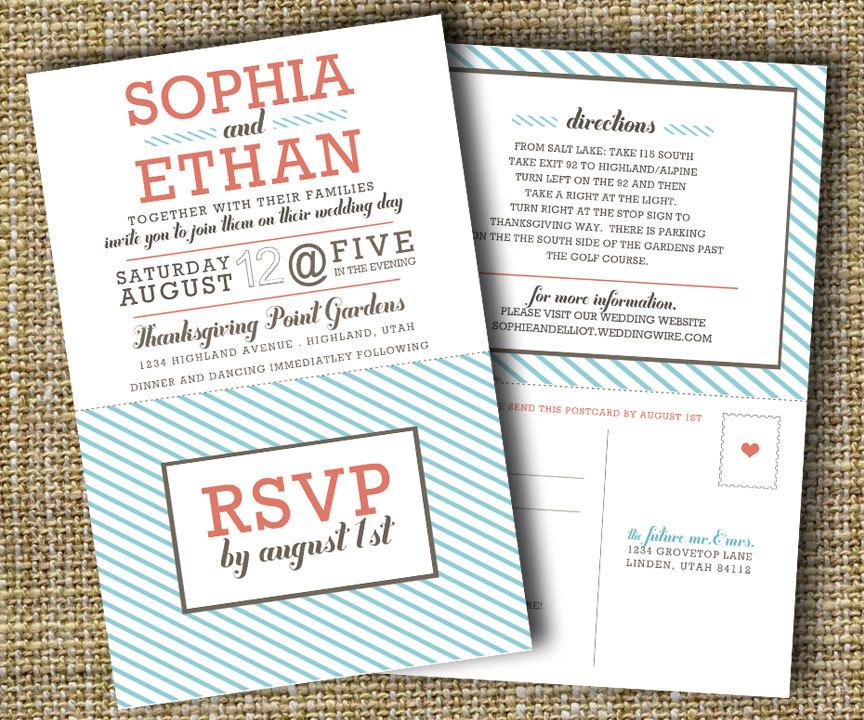 Modern Wedding Invitation With Perforated Rsvp Card - Lovely ...