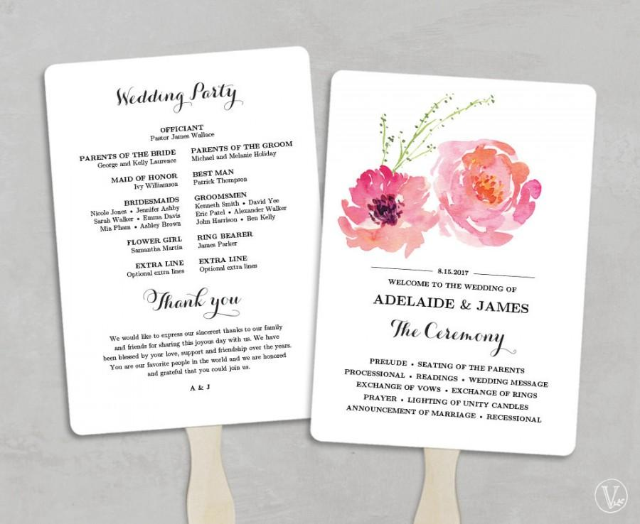 Printable Wedding Program Fan Template Fans Diy Programs Editable Text 5x7 Pink Peony