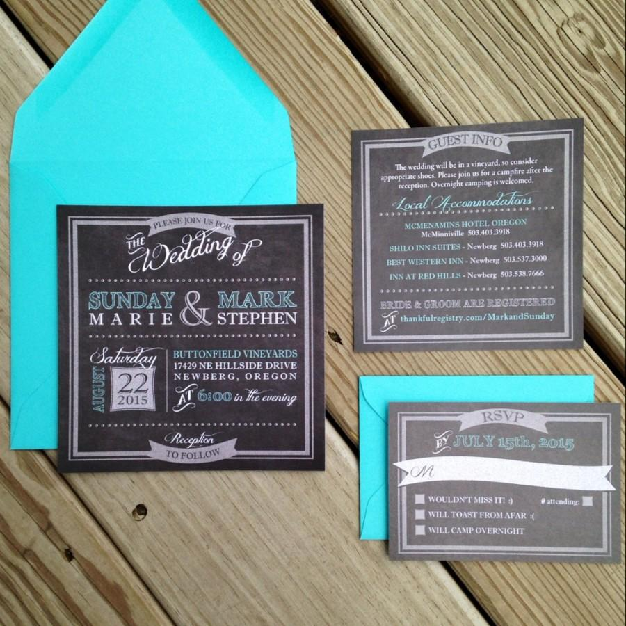 زفاف - Chalkboard Wedding Invitation, Chalk Wedding Invitation, Rustic Wedding Invitations, Teal and Gray Wedding Invitations