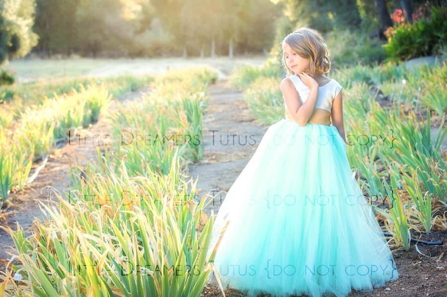 زفاف - NEW! The Juliet Dress in Ivory Mint and Gold - Flower Girl Tutu Dress
