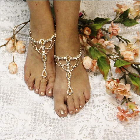 Wedding - Rose gold rhinestone barefoot sandals