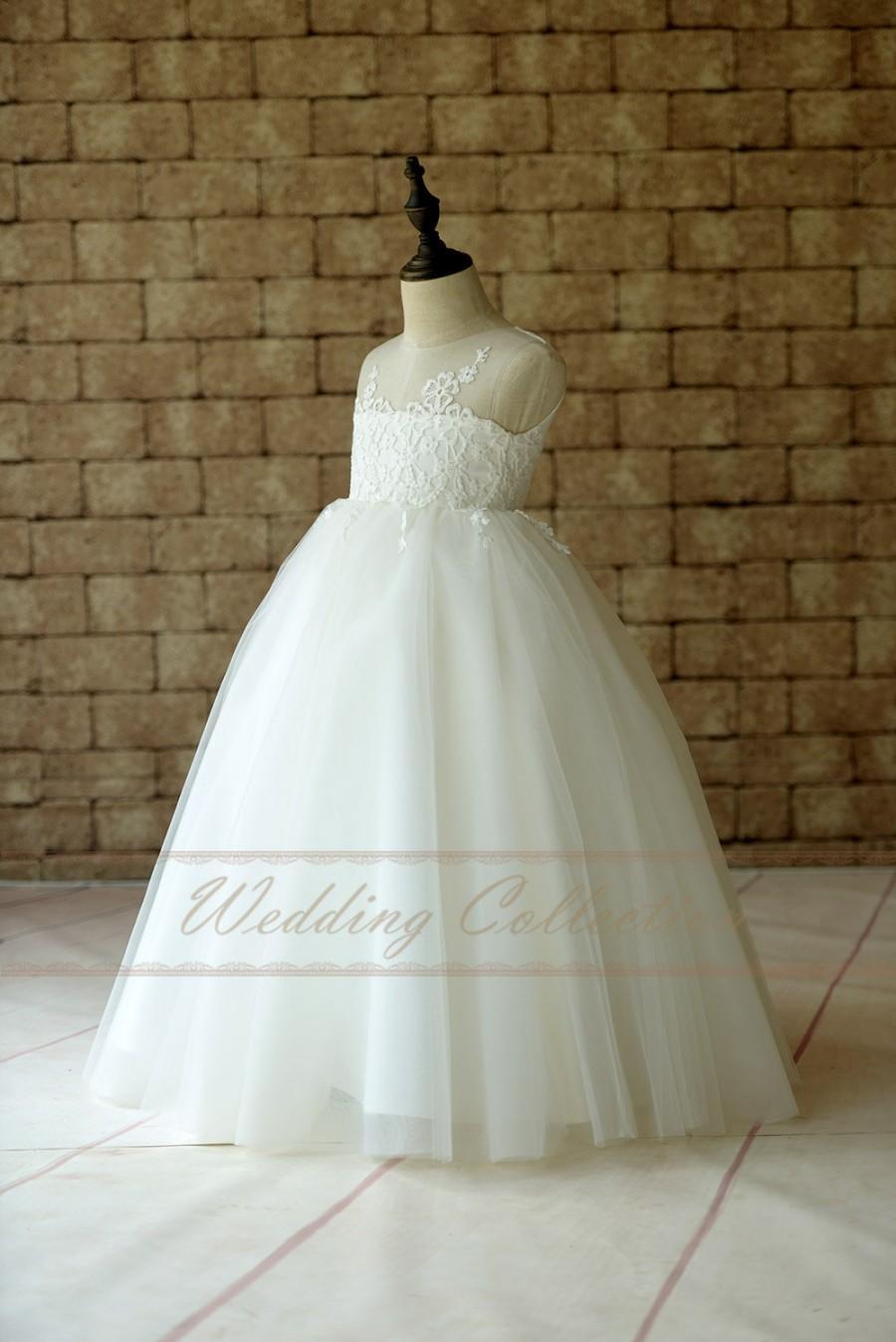 Mariage - Sheer Lace Strapless Neckline Flower Girl Dress Ball Gown Floor Length