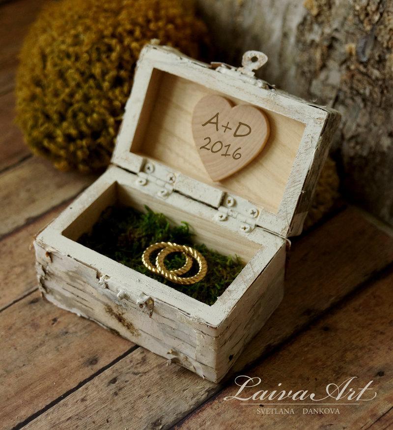 Свадьба - Personalized Wedding Ring Bearer Pillow Box Ring Bearer Box Birch Bark Rustic Wedding