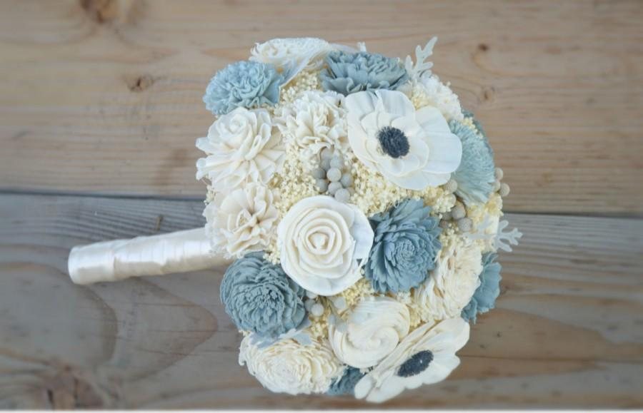 Slate Wedding Collection Large Bridal Bouquet Sola Flowers And Dried