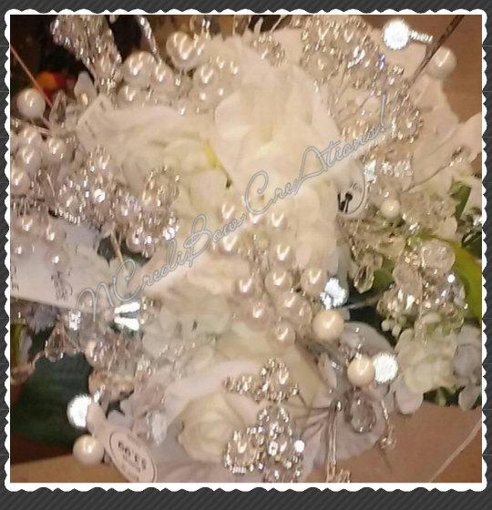 Свадьба - Bridal Bouquet Ivory Pearls & Rhinestones