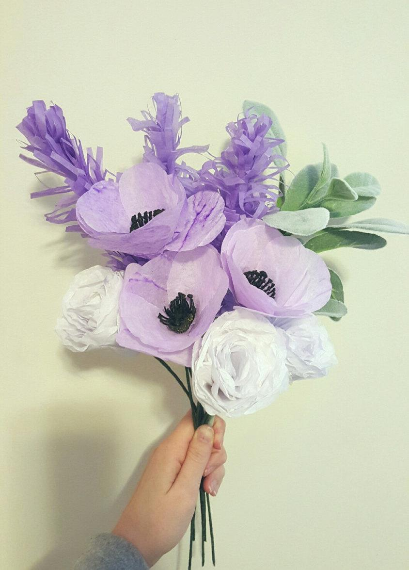 Mariage - Samantha- a Shades of Purple Paper Flower Bouquet-Wedding Paper Flowers,Paper Bouquet,Bridesmaid Bouquet,Bridal Shower,Baby Shower