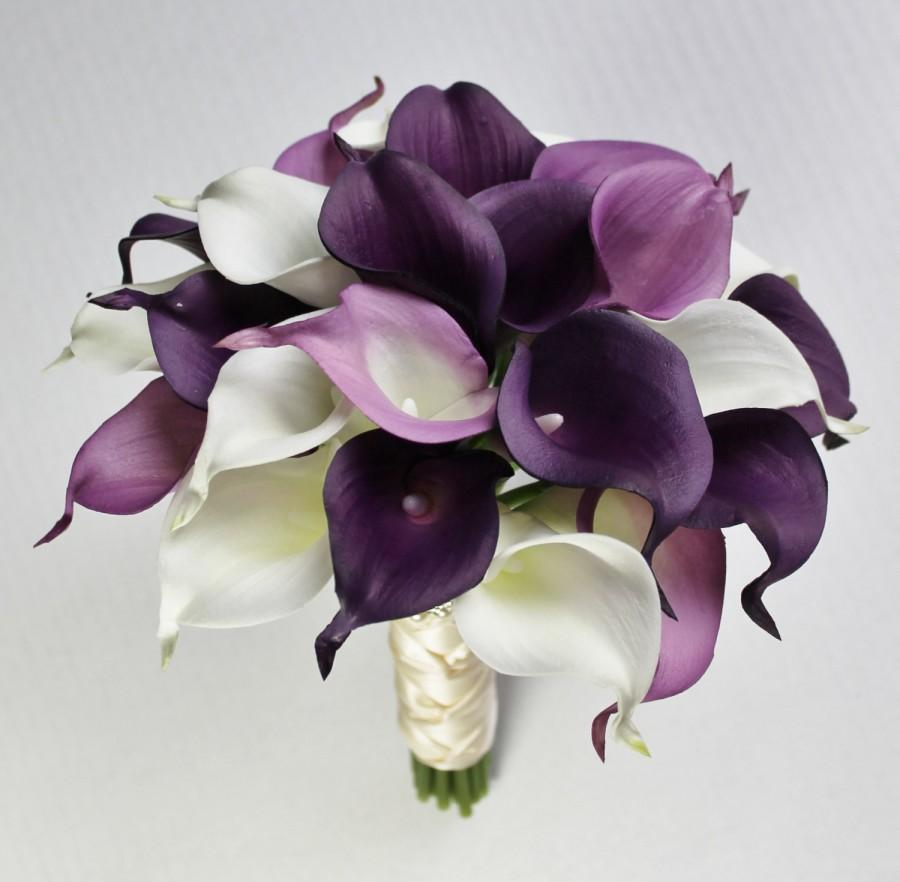 Wedding Bouquet Purple Calla Lily Bouquet Purple Bouquet Real Touch
