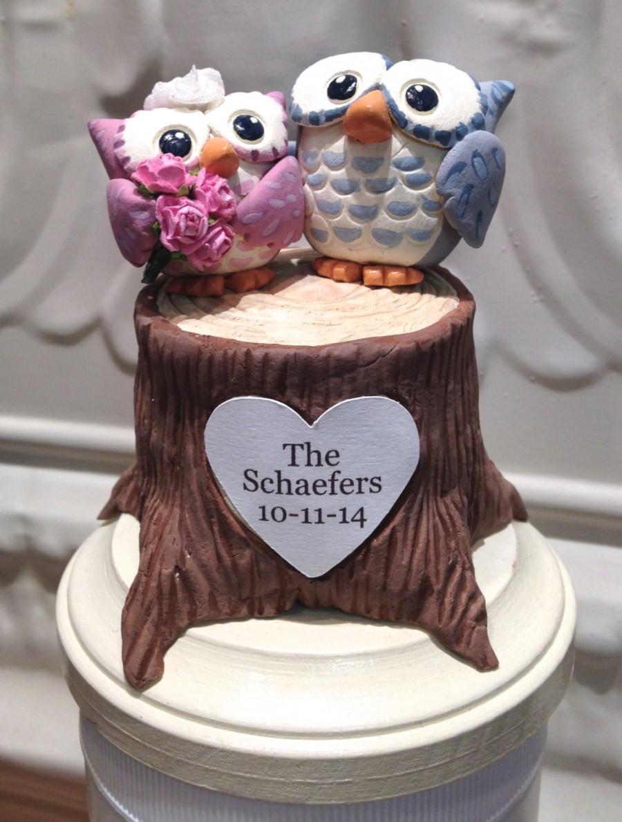 Wedding - Woodland Owls Wedding Cake Topper -Custom Cake Topper - Woodland Wedding - Personalize with Names or Initials