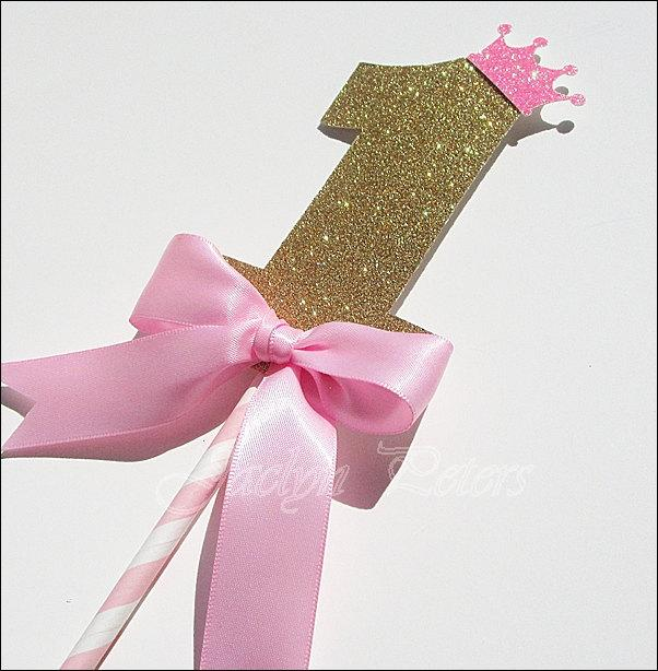 First Birthday Cake Topper Girls Party Princess Theme Pink And