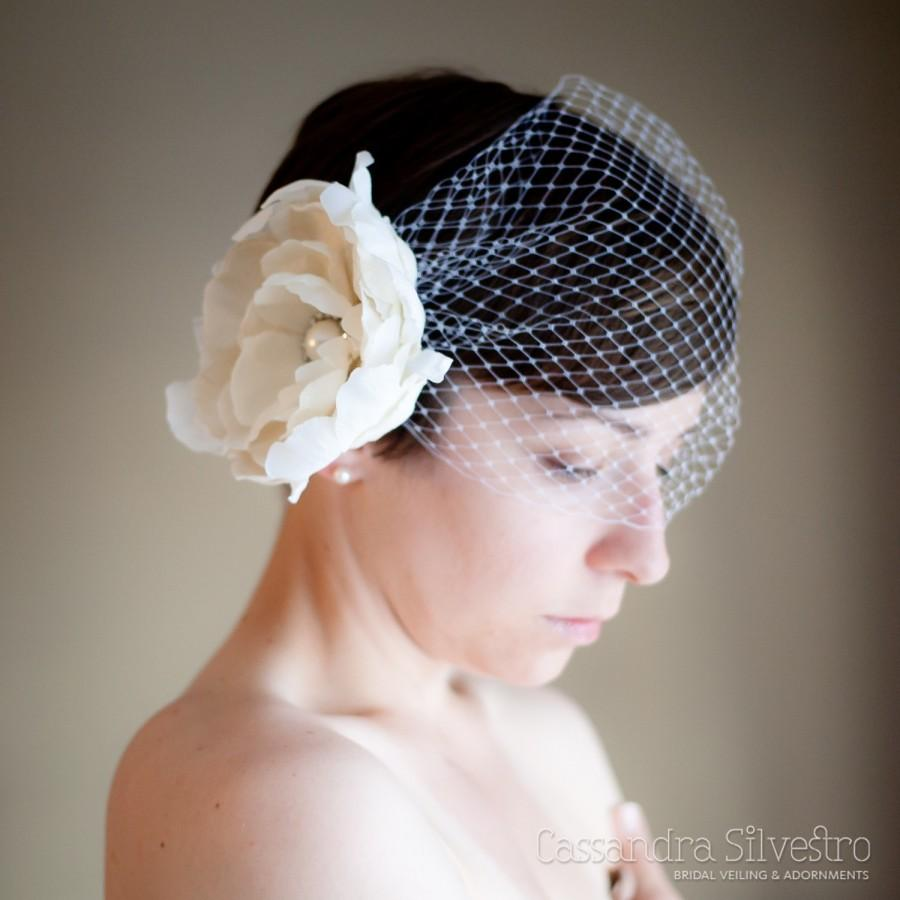 Wedding - Birdcage Wedding Veil with Crystal Peony Floral Bridal Headpiece (Bandeau Birdcage Veil, Russian Netting Veil, Pearl Crystal Flower)