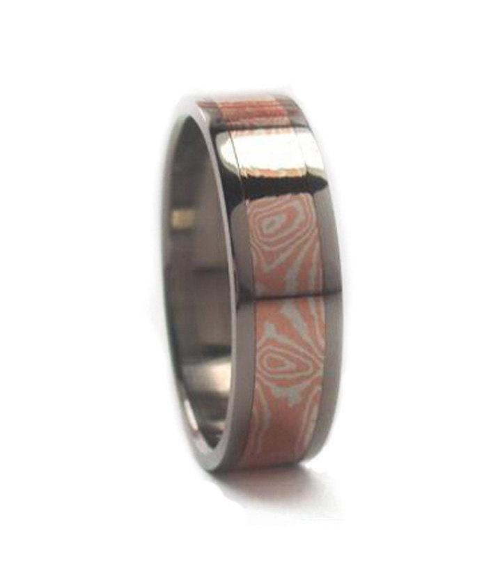 Wedding - Mokume Gane Wedding Band, Titanium Ring