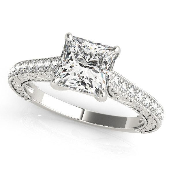 Mariage - Princess Cut Diamond Ring, Princess Cut Engagement Ring, Diamond Engagement Ring, Princess Cut Diamond Ring in 14k Gold.