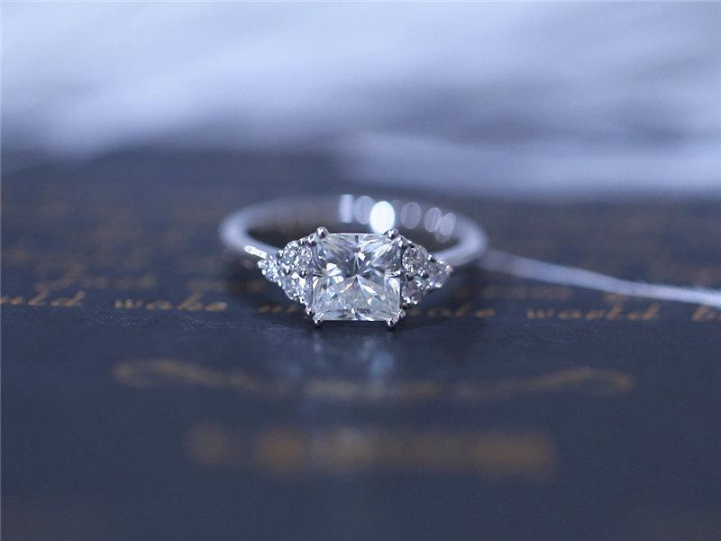 Mariage - 14K White Gold 5.5mm Princess Cut Charles & Colvard Brilliant Moissanite Ring Solid Moissanite Engagement Ring Moissanite Wedding Ring