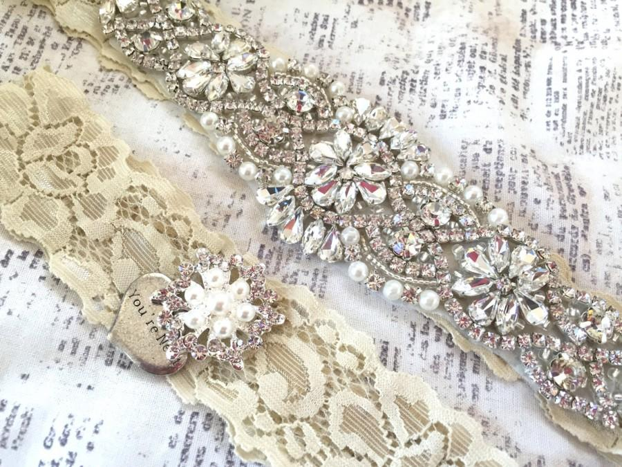 Свадьба - Bridal Garter Set, Beaded Wedding Garter, Bridal Garter Wedding, Rhinestone Garter, Crystal Garter Set, You're Next Toss Garter, Garter Set