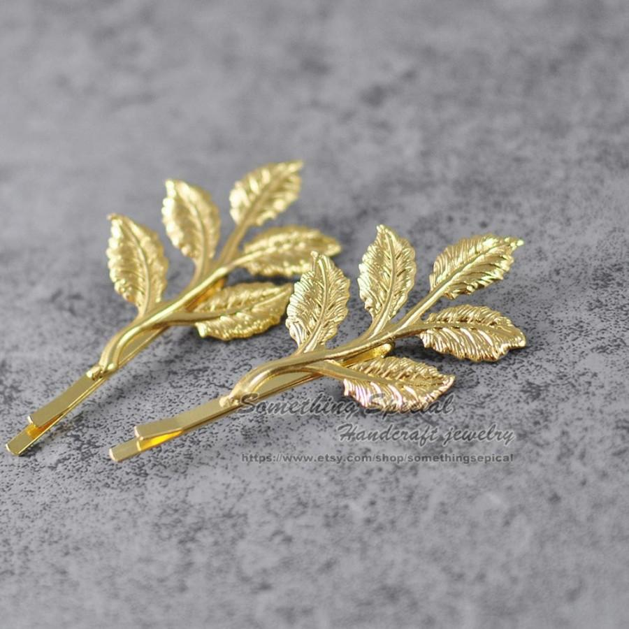 Wedding - Branch hair pin Gold tree branch leaf hair clip Branch bobby pin Natural inspired Woodland wedding Bridesmaid Bridal Girls Hair Accssories