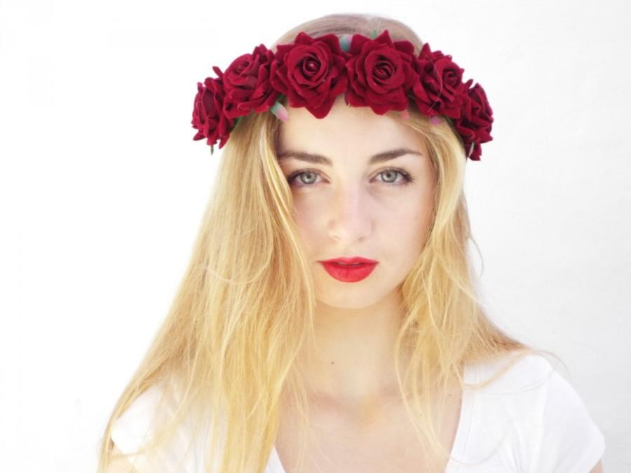 زفاف - Deep Red Velvet Roses, Burgundy Flower Crown,Day of the dead