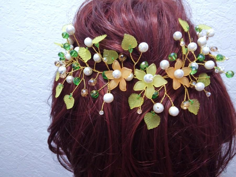 Wedding - Flower hair crown jewelry Handmade  headband Wedding flower Hair Crown  Bridal Wreath Bridal Halo Green hair jewelry Bridal Hair Vine