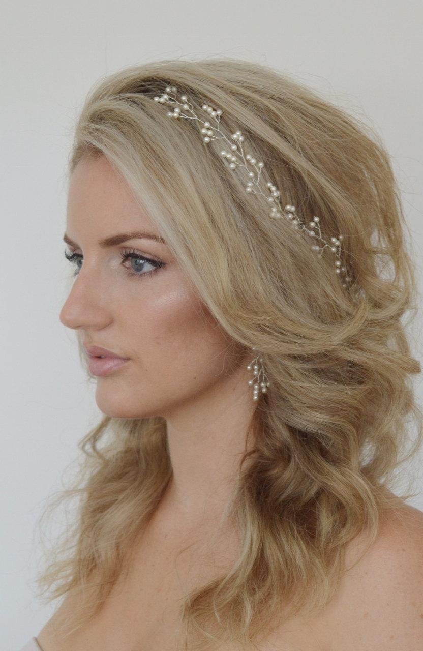 Wedding - Baby's Breath Pearl Hair Vine,Pearl Bridal Headpiece,Wedding Hair Accessories, Bridal Hair Vine, Swarovski Pearl Hair Vine, Bridal Hairpiece